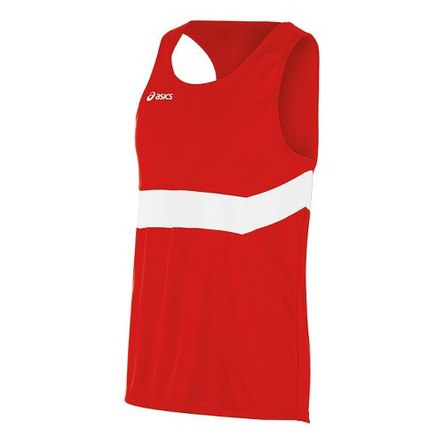 Mens ASICS Break Through Singlet Tank Technical Tops - Red/White XL