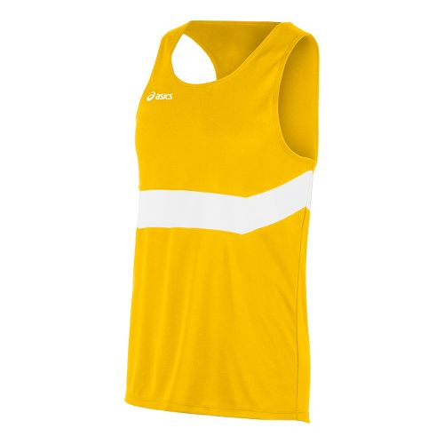 Mens ASICS Break Through Singlet Tank Technical Tops - Gold/White XL