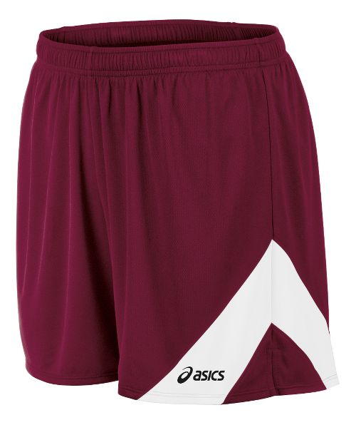 Mens ASICS Break Through Lined Shorts - Cardinal/White S