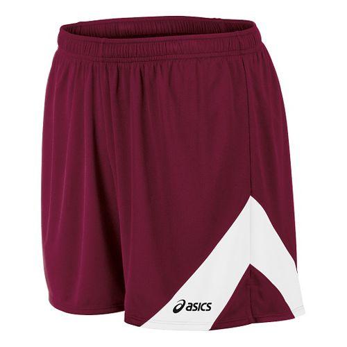 Mens ASICS Break Through Lined Shorts - Cardinal/White M