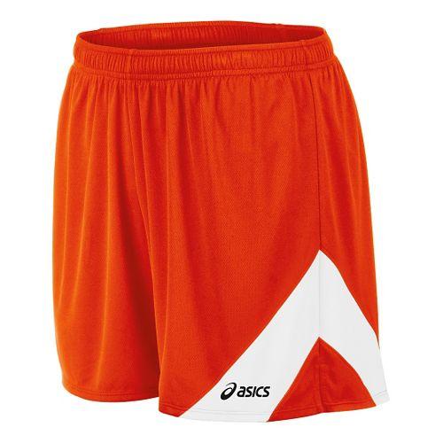 Mens ASICS Break Through Lined Shorts - Orange/White M