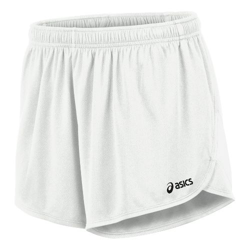 Mens ASICS Break Through 1/2 Split Lined Shorts - White/White M