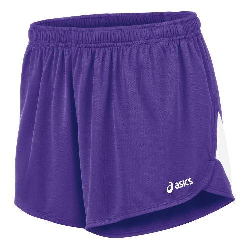 Mens ASICS Break Through 1/2 Split Lined Shorts - Purple/White M