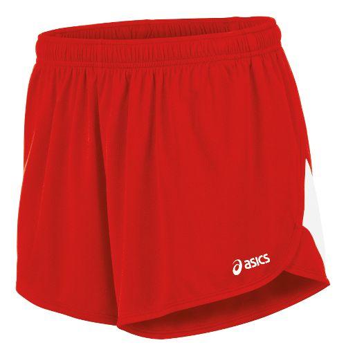 Mens ASICS Break Through 1/2 Split Lined Shorts - Red/White M