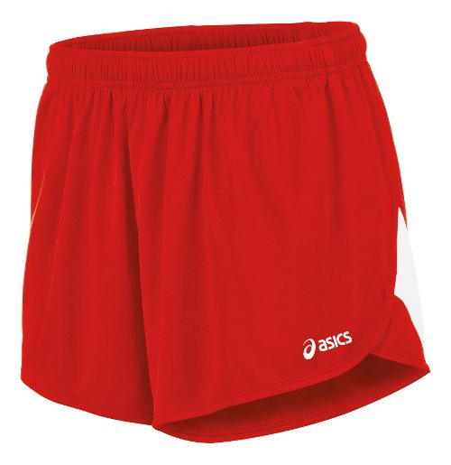 Mens ASICS Break Through 1/2 Split Lined Shorts - Red/White XL