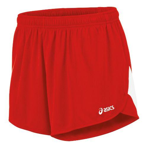 Mens ASICS Break Through 1/2 Split Lined Shorts - Red/White XXL