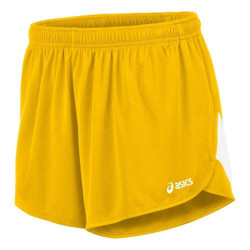 Mens ASICS Break Through 1/2 Split Lined Shorts - Gold/White L
