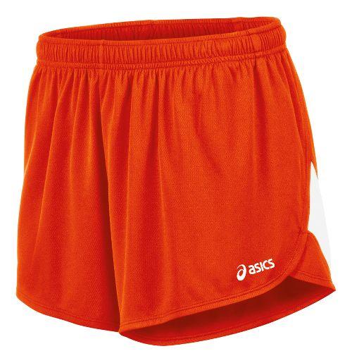 Mens ASICS Break Through 1/2 Split Lined Shorts - Orange/White S