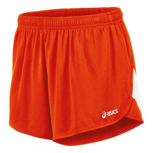 Mens ASICS Break Through 1/2 Split Lined Shorts - Orange/White XXL