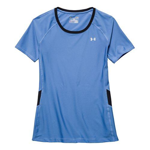 Womens Under Armour HeatGear Alpha Novelty Short Sleeve Technical Tops - Picasso Blue/Black XL