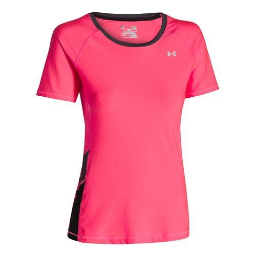 Womens Under Armour HeatGear Alpha Novelty Short Sleeve Technical Tops - Pink Shock/Gray XL