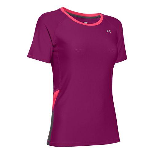 Womens Under Armour HeatGear Alpha Novelty Short Sleeve Technical Tops - Aubergine/Pink Shock S