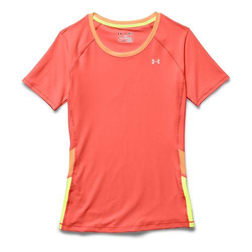 Womens Under Armour HeatGear Alpha Novelty Short Sleeve Technical Tops - Burn/After Glow XS