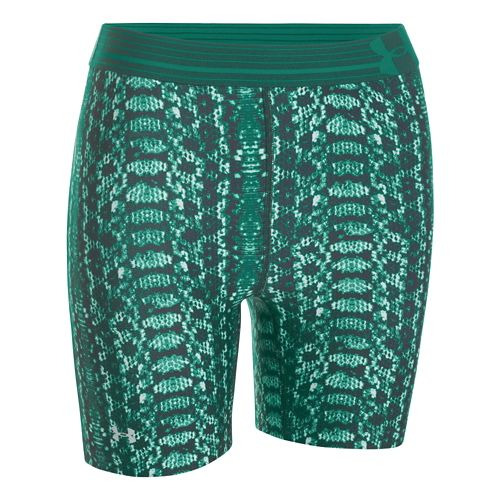 Womens Under Armour HeatGear Alpha Compression Printed Mid Unlined Shorts - After Glow/Burn XS