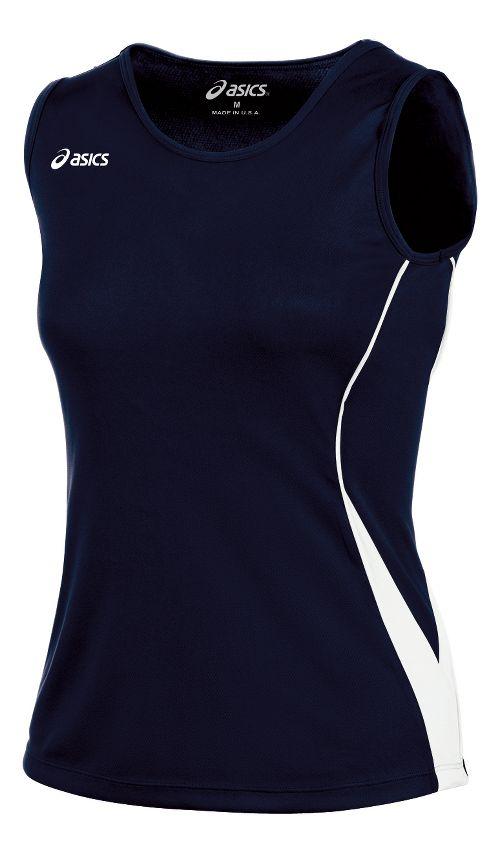 ASICS Girls Jr. Baseline Jersey Sleeveless Technical Tops - Navy/White YXL