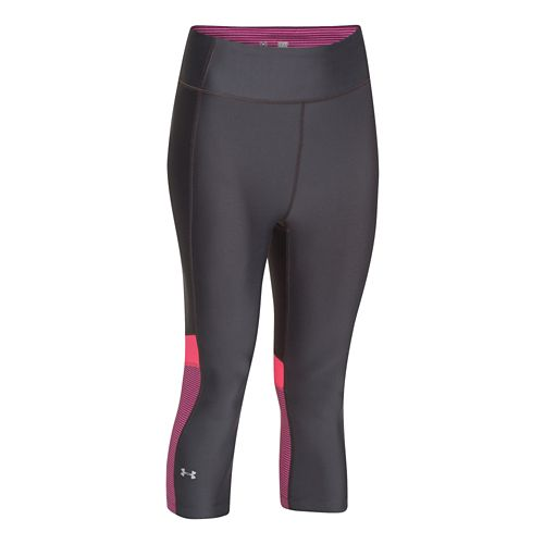 Womens Under Armour HeatGear Alpha Compression Novelty Capri Tights - Gray/Aubergine XS