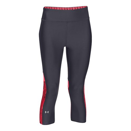 Womens Under Armour HeatGear Alpha Compression Novelty Capri Tights - Gray/Pink Shock S