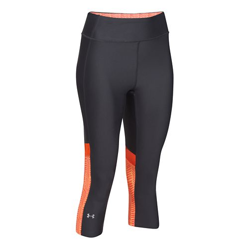 Womens Under Armour HeatGear Alpha Compression Novelty Capri Tights - Gray/After Glow M