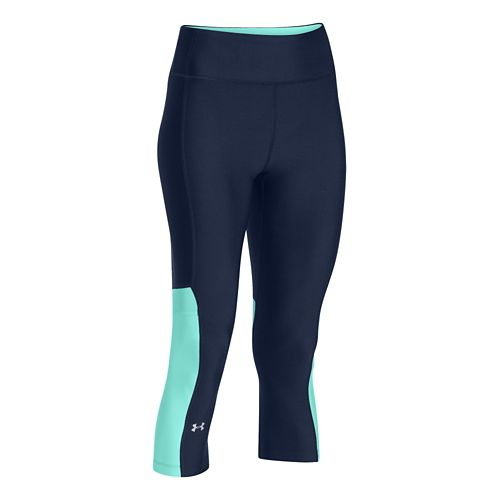 Womens Under Armour HeatGear Alpha Compression Novelty Capri Tights - Academy/Crystal XS