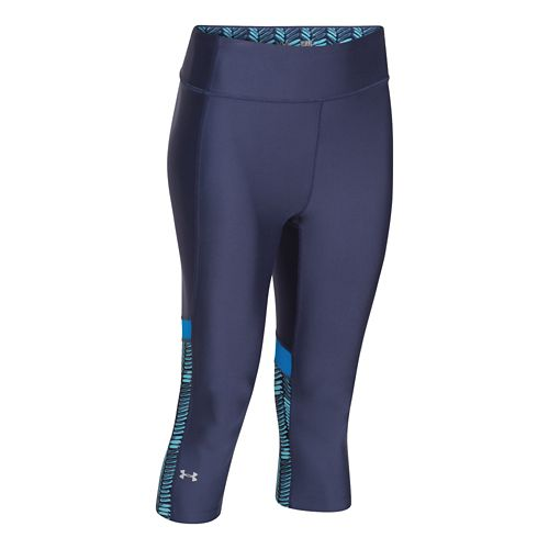 Womens Under Armour HeatGear Alpha Compression Novelty Capri Tights - Faded Ink/Blue XL
