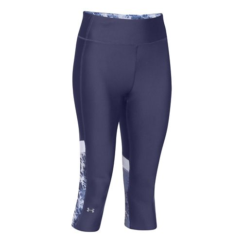 Womens Under Armour HeatGear Alpha Compression Novelty Capri Tights - Faded Ink/White M