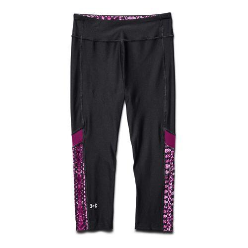 Womens Under Armour HeatGear Alpha Compression Novelty Capri Tights - Gray/Pink Shock M