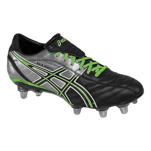 Mens ASICS Lethal Warno Cleated Shoe - Black/Grass 7.5