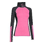 Womens Under Armour ColdGear Cozy 1/2 Zip Long Sleeve Technical Tops - Black/Pink Punk M