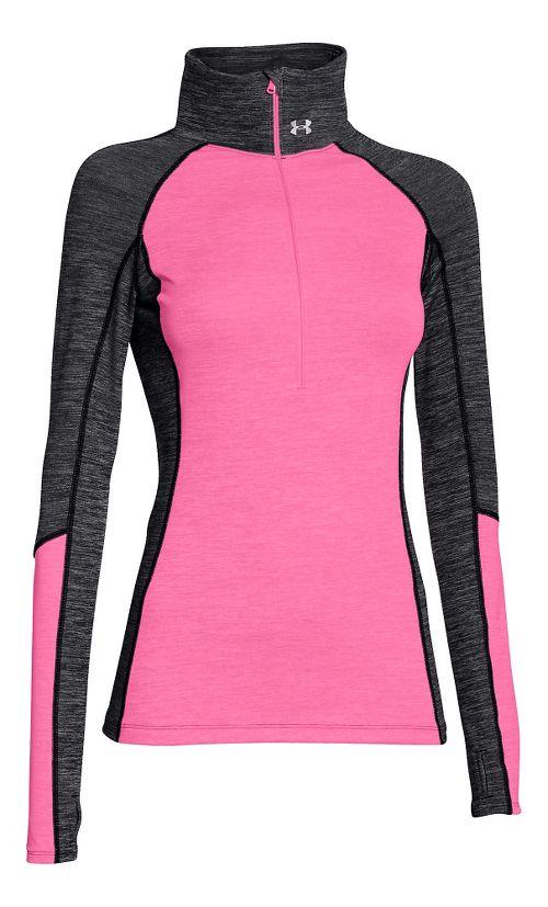 Womens Under Armour ColdGear Cozy 1/2 Zip Long Sleeve Technical Tops - Black/Pink Punk M
