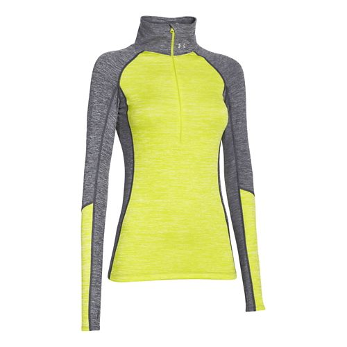 Womens Under Armour ColdGear Cozy Long Sleeve Half Zip Technical Tops - Grey/Flash Light S ...