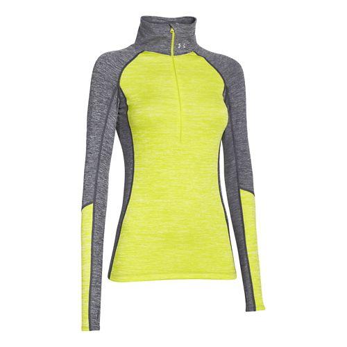 Womens Under Armour ColdGear Cozy 1/2 Zip Long Sleeve Technical Tops - Grey/Flash Light XS ...