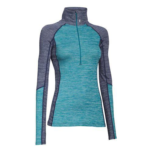 Womens Under Armour ColdGear Cozy 1/2 Zip Long Sleeve Technical Tops - Blue Knight/Teal XL ...