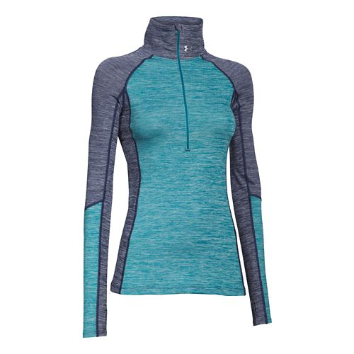 Womens Under Armour ColdGear Cozy 1/2 Zip Long Sleeve Technical Tops - Blue Knight/Teal XS ...