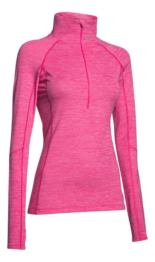 Womens Under Armour ColdGear Cozy 1/2 Zip Long Sleeve Technical Tops - Rebel Pink /Silver S