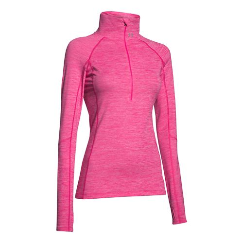 Womens Under Armour ColdGear Cozy 1/2 Zip Long Sleeve Technical Tops - Rebel Pink /Silver M
