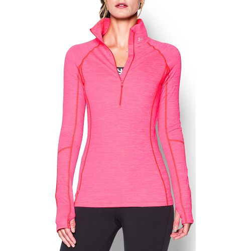 Womens Under Armour ColdGear Cozy 1/2 Zip Long Sleeve Technical Tops - Harmony Red M ...
