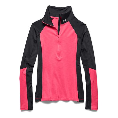 Womens Under Armour ColdGear Cozy Long Sleeve Half Zip Technical Tops - Phantom Gray/X-Ray M ...