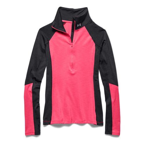 Womens Under Armour ColdGear Cozy Long Sleeve Half Zip Technical Tops - Black/Pink Shock XL ...