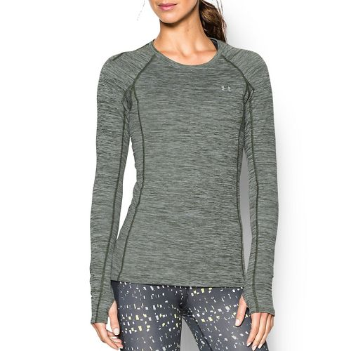 Womens Under Armour ColdGear Cozy Crew Long Sleeve Technical Tops - Green/Silver M