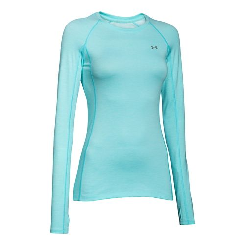 Womens Under Armour ColdGear Cozy Crew Long Sleeve Technical Tops - Veneer/Silver M