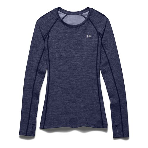 Womens Under Armour ColdGear Cozy Crew Long Sleeve No Zip Technical Tops - Blue Knight/Silver ...