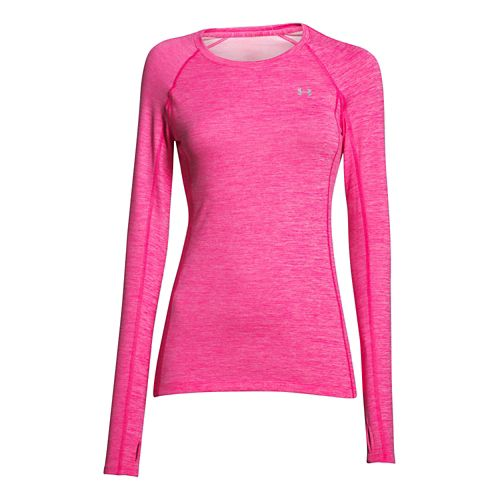 Womens Under Armour ColdGear Cozy Crew Long Sleeve Technical Tops - Rebel Pink/Silver M