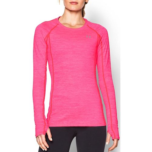 Womens Under Armour ColdGear Cozy Crew Long Sleeve Technical Tops - Harmony Red S