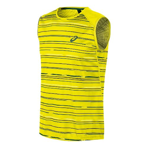 Mens ASICS Athlete Sleeveless Technical Tops - Strip Safety Yellow M