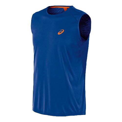 Mens ASICS Athlete Sleeveless Technical Tops - Air Force Blue M