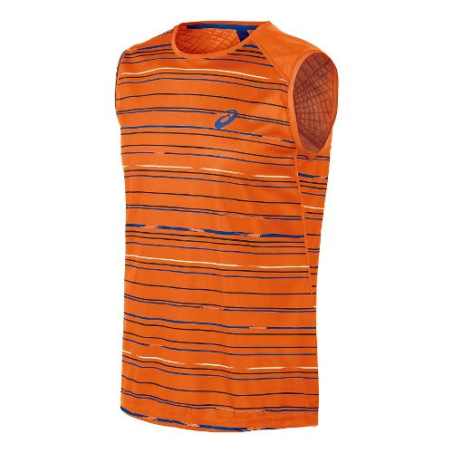 Mens ASICS Athlete Sleeveless Technical Tops - Stripe Orange M