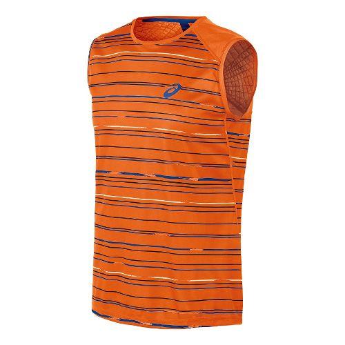 Mens ASICS Athlete Sleeveless Technical Tops - Stripe Orange XXL
