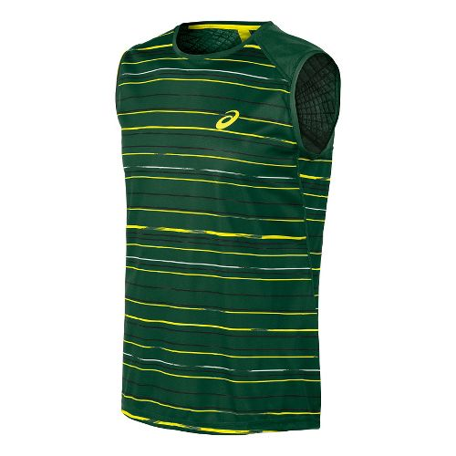 Mens ASICS Athlete Sleeveless Technical Tops - Stripe Oak Green L