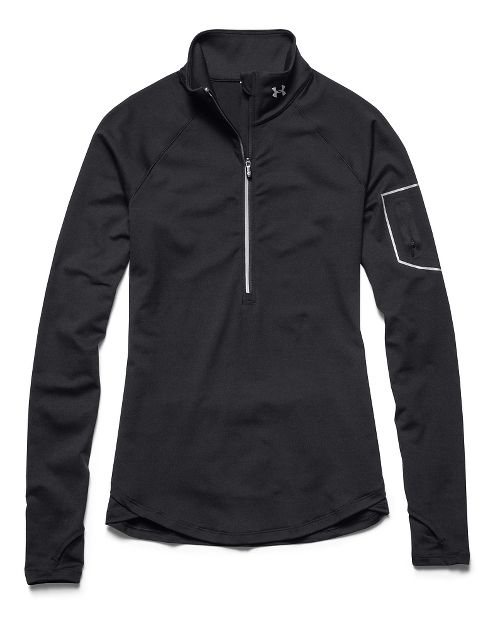 Womens Under Armour Fly Fast 1/2 Zip Long Sleeve Technical Tops - Black/Black S