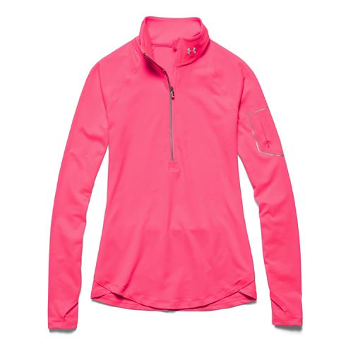 Womens Under Armour Fly Fast Long Sleeve Half Zip Technical Tops - Pink Shock/Pink Shock ...